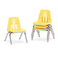 "9000 Series Classroom Chairs, 10"" Seat Height, Squash/Chrome, 4/Carton"