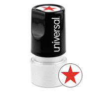 Round Message Stamp, STAR, Pre-Inked/Re-Inkable, Red