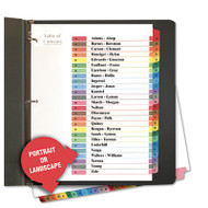Table of Contents Dividers, Assorted Color 26-Tab, A-Z, Letter, White, 26/Set