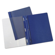 """Plastic Cover, Tang Clip, Letter, 1/2"""" Capacity, Clear/Dark Blue, 25/Box"""