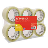 """Quiet Tape Box Sealing Tape, 48mm x 100m, 3"""" Core, Clear, 6/Pack"""