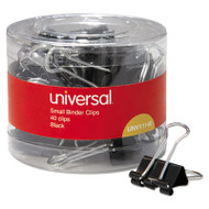 """Small Binder Clips, 3/8"""" Capacity, 3/4"""" Wide, Black, 40/Pack"""