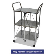 Click-N-Fold Dual Handle Service Cart, 18 1/2w x 24d x 36 1/5h, Chrome