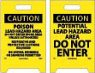 CAUTION POTENTIAL LEAD HAZARD DOUBLE-SIDED FLOOR SIGN