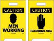 CAUTION MEN WORKING DOUBLE-SIDED FLOOR SIGN