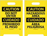 CAUTION DO NOT ENTER - BILINGUAL DOUBLE-SIDED FLOOR SIGN