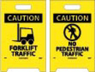CAUTION FORKLIFT TRAFFIC DOUBLE-SIDED FLOOR SIGN
