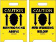 CAUTION MEN WORKING ABOVE/BELOW DOUBLE-SIDED FLOOR SIGN