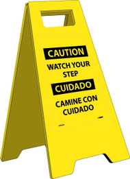 CAUTION WATCH YOUR STEP - BILINGUAL HEAVY DUTY FLOOR STAND