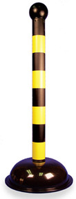 WARNING POST BLACK/YELLOW STRIPE