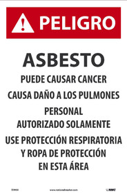 danger asbestos dust hazard spanish paper sign