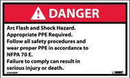 DANGER ARC FLASH AND SHOCK HAZARD LABEL