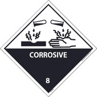 CORROSIVE 8 GRAPHIC DOT PLACARD LABEL