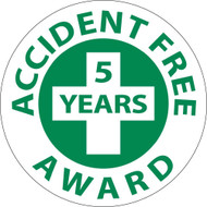 ACCIDENT FREE 5 YEARS AWARD HARD HAT EMBLEM