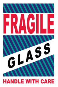FRAGILE GLASS HANDLE WITH CARE LABEL