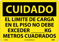 CAUTION FLOOR LOAD LIMIT SIGN - SPANISH
