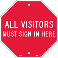 ALL VISITORS MUST SIGN IN HERE STOP SIGN