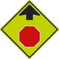 STOP AHEAD SYMBOL WITH ARROW SIGN
