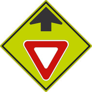 YIELD AHEAD SYMBOL WITH ARROW SIGN