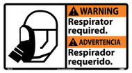 WARNING RESPIRATOR REQUIRED SIGN - BILINGUAL
