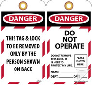 DANGER DO NOT OPERATE DO NOT REMOVE THIS LOCK TAG