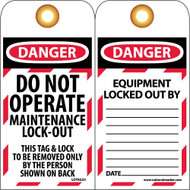 DANGER DO NOT OPERATE MAINTENANCE LOCK-OUT TAG
