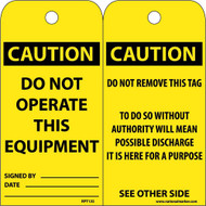 CAUTION DO NOT OPERATE THIS EQUIPMENT TAG