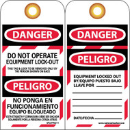 DANGER DO NOT OPERATE EQUIPMENT LOCK-OUT BILINGUAL TAG