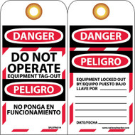 DANGER DO NOT OPERATE EQUIPMENT TAG-OUT BILINGUAL TAG