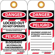 DANGER LOCKED OUT DO NOT OPERATE BILINGUAL TAG