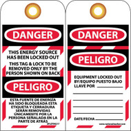 DANGER ENERGY SOURCE HAS BEEN LOCKED OUT BILINGUAL TAG