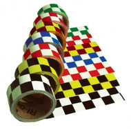 CHECKERBOARD SAFETY TAPE GREEN/WHITE