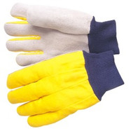 Select shoulder leather - yellow canvas back - blue knit wrist - S & L