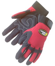 CRIMSON WARRIOR: 1 Pair Premium simulated black leather gloves w/patch palm - red spandex fabric back - adjustable velcro tabs
