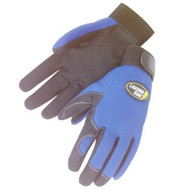 BLUE KNIGHT: 1 Pair Premium simulated black leather gloves- blue spandex fabric back - adjustable velcro tabs