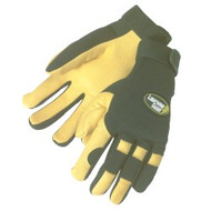 GOLDEN KNIGHT: 1 Pair Premium grain deerskin gloves - black spandex fabric back - adjustable velcro tabs