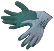 """ATLAS FIT"" 10 gauge, gray shell, green nitrile dip palm/fingertips - S-XL"