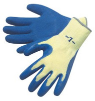 10 gauge, yellow shell, blue latex dip palm/fingertips - S-XL