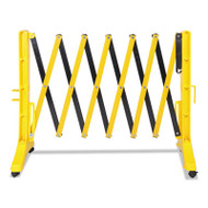 "Expandable Plastic Barrier Gate, 13"" x 16 1/2"" - 138"" x 41"", Yellow/Black"