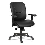 Eon Series Mid-Back Leather Synchro with Seat Slide Chair, Black