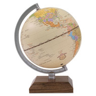 "Ivory Desk Globe, 5 1/8"" Diameter, Walnut Base/Silver Arm"