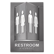 Pop-Out ADA Sign, Restroom, Tactile Symbol/Braille, Plastic, 6 x 9, Gray/White