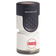 "Accustamp Pre-Inked Round Stamp with Microban, FAXED, 5/8"" dia, Red"