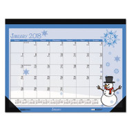 100% Recycled Seasonal Desk Pad Calendar, 22 x 17, Illustrated Holiday, 2018