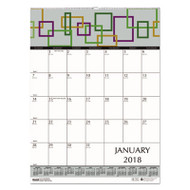 100% Recycled Geometric Wall Calendar, 12 x 16 1/2, 2018