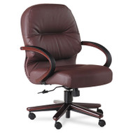 2190 Pillow-Soft Wood Series Mid-Back Chair, Burgundy Leather/Mahogany