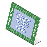 """Themed """"Safety First"""" L-Shaped Sign Holder, Green/White/Clear, 11 x 8 1/2"""