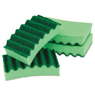 Durable Heavy Duty Scrub Sponges, 4 1/5 x 2 1/2 x 9/10, Green, 4/Pack