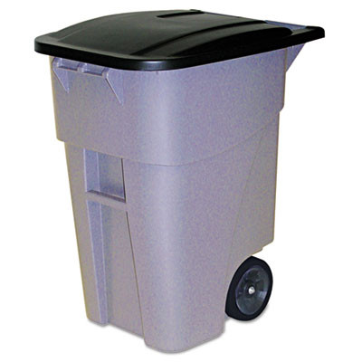 Brute Roll Out Container, With Lid, 50gal, 46 7/8h, Gray