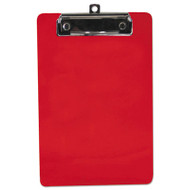 """Plastic Clipboard, 1/2"""" Capacity, 6 x 9 Sheets, Red"""